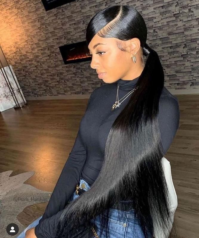 Youmi Human Virgin Hair Pre Plucked 13x6 Lace Front Wig And Full Lace Wig For Black Woman Free Shipping Ym0137 Hair Ponytail Styles Sleek Ponytail Hairstyles Ponytail Styles