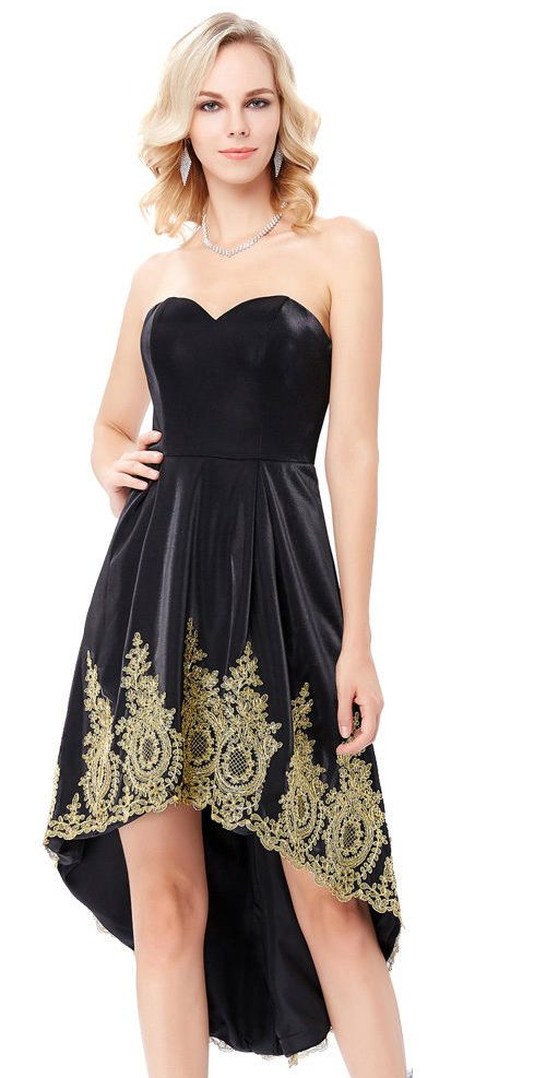 Black evening dress with golden embroidery