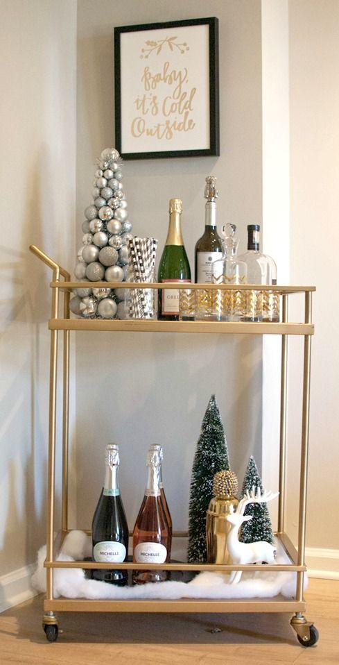 Styling your bar cart for your holiday party! Love the way this looks!