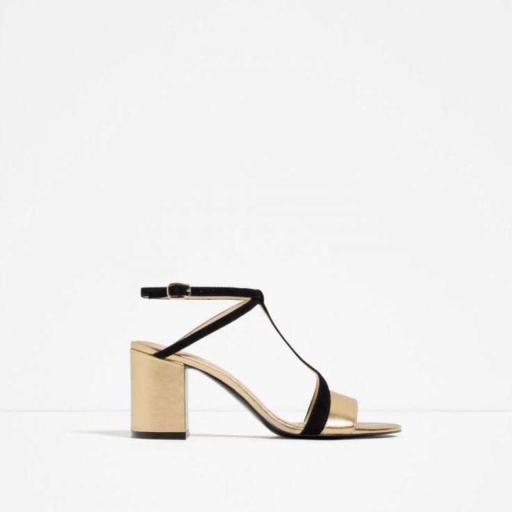 Πέδιλο με χοντρό τακούνι και λουράκια σε μεταλλική και μαύρη απόχρωση || Zara shop