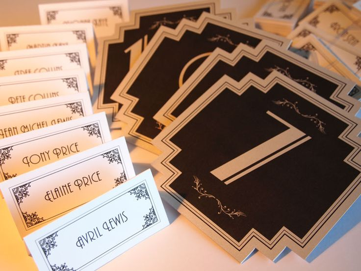 Art Deco Escort Cards & Place Name Cards with Table Numbers. Art Deco Wedding Invitations - Savoy design. Table Numbers set, Wedding, Vintage Style, Art Deco, Old Hollywood Glamour, Great Gatsby, 1920s, 1930s, 1940s, Matching Items