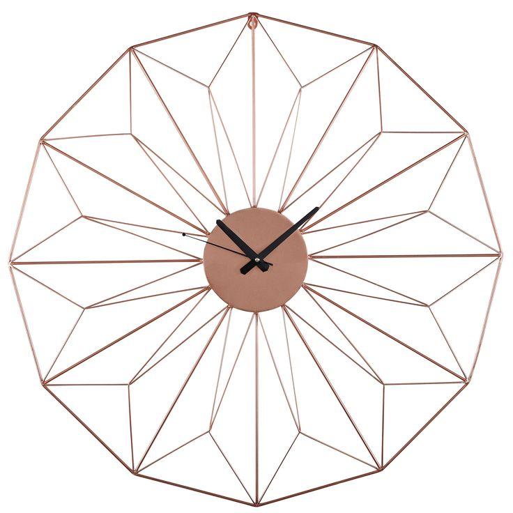 Horloge en fil de métal cuivré D.80cm AKIMI