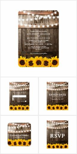 Rustic Country WEDDING COLLECTION Sunflower String Twinkle Lights Romantic Carved Initials Monogrammed Sunflowers Floral Wooden Barrel Invites, Announcements, Invitations, Cards, RSVP, Save The Date, stickers and more!