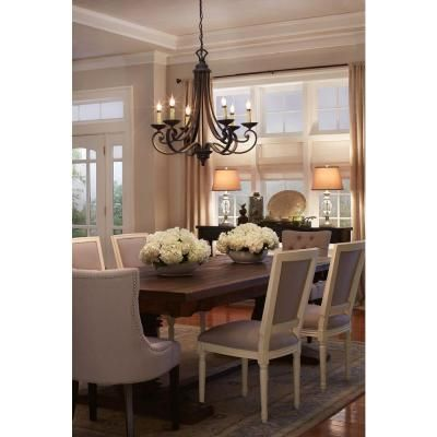 Designers Fountain Monte Carlo 6 Light Hanging Natural Iron Chandelier Table And ChairsDining