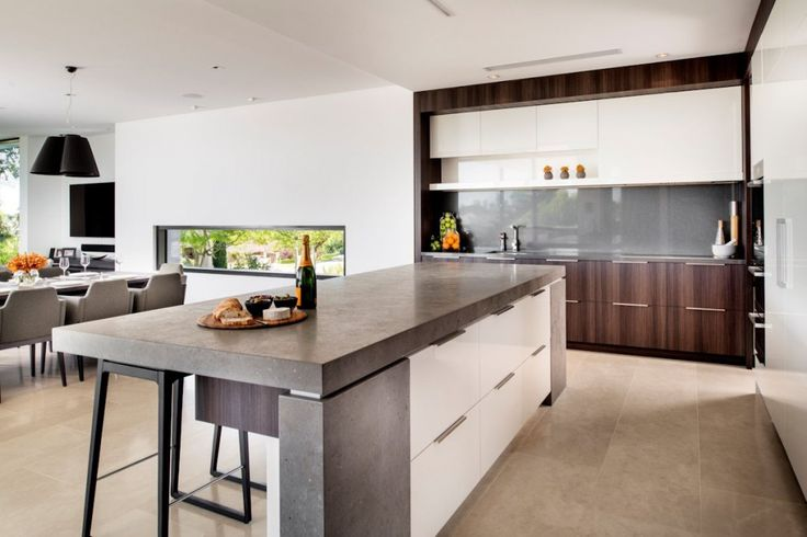 Architecture: Kitchen Island With Kitchen Bar Stools Modern Kitchen Cabinet Sink And Granite Countertop Ceramic Tile Floors White Refrigerator Pendant Lamps: Family House - Timeless Luxury House Gathering Waterside Panoramas