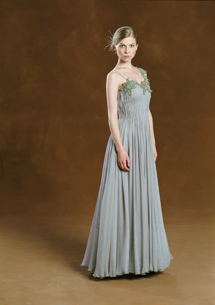 Fleur Delacour attending the Yule Ball. Her dress robes aren't as bad as Ron's though :)