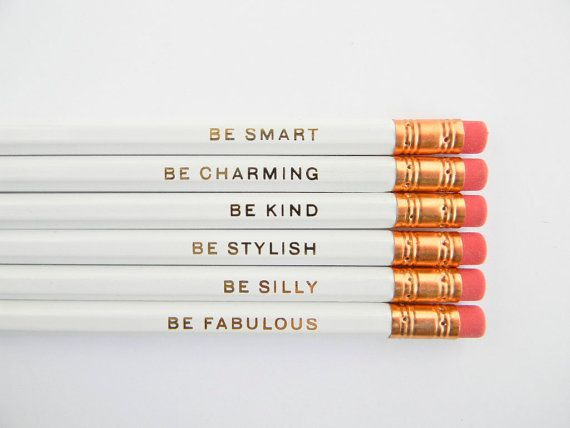 Gentle Reminders Pencils White Set of 6 by AmandaCatherineDes, $12.00