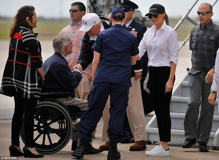 President and First Lady Mrs. Trump descend Air Force One to visit Texas and support flood victims. FLOTUS hat, white shirt, black pants, white trainers. Melania Aug 29 2017