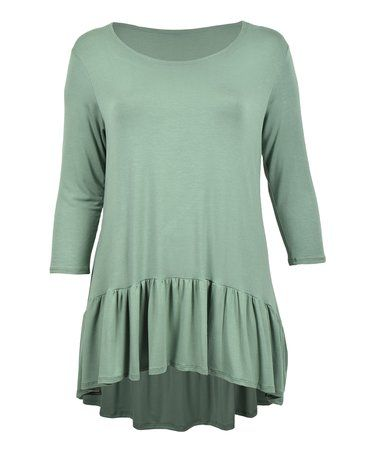 Another great find on #zulily! Sage Ruffle Tunic - Plus #zulilyfinds