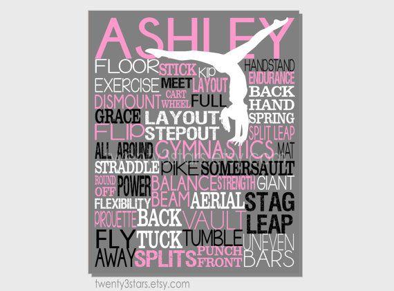 Gymnastics Typography Art Print Perfect for Girl's by twenty3stars