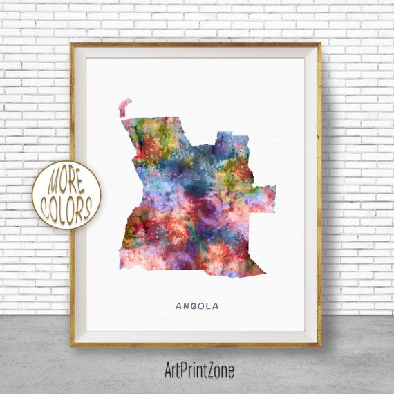Angola Art, Watercolor Map, Angola Map Art, Office Wall Decor, Office Wall Art, Living Room Art, Map Decor, Map Wall Art Print Zone #WatercolorMap #OfficeWallArt #ArtPrintZone #LivingRoomArt #MapDecor