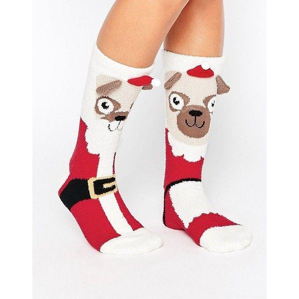 ASOS Christmas Mr And Mrs Santa Pug Cosy Socks (710 RSD) ❤ liked on Polyvore featuring intimates, hosiery, socks, multi, asos socks, christmas socks, ankle high hosiery, asos and ankle high socks