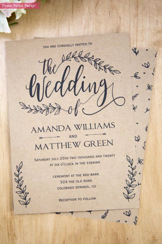 Rustic Wedding Invitations Template Lovely Rustic Wedd In 2020 Wedding Invitation Templates Rustic Wedding Invitation Templates Wedding Invitations Printable Templates