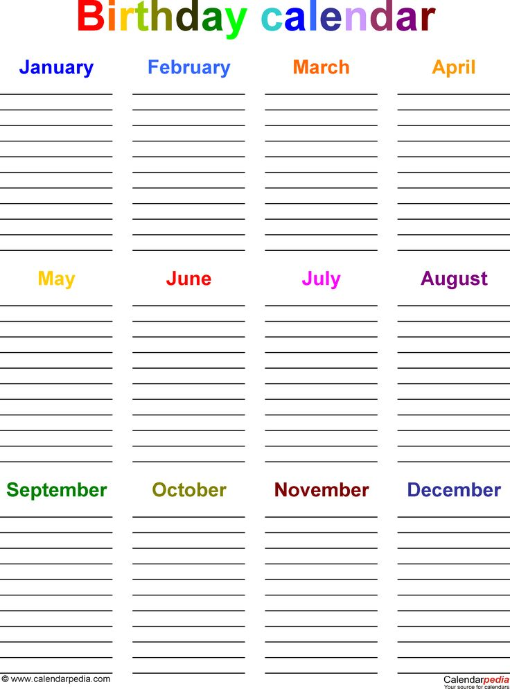 7 Best Family Birthday Calendars Images On Pinterest Organizations