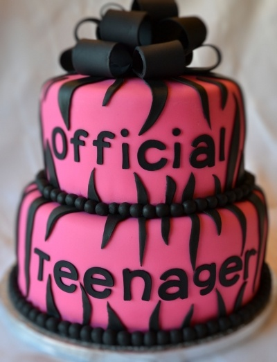 Official teenager birthday cake! Switch to blue or whatever other color for a boy.
