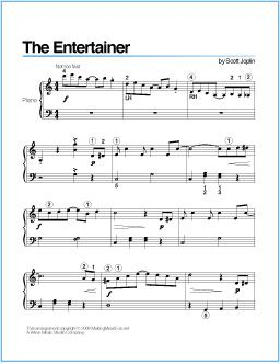 The Entertainer (Joplin) | Printable Sheet Music for Piano - http://wavemusicstudio.com/free-sheet-music/the-entertainer-piano-sheet-music.php