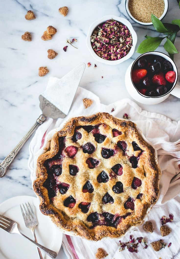 Happy Pi Day | 3/14 | Cherry, Strawberry & Rose Pie | Dessert Recipes | Baking | Whole Foods Market | via Butter Lust Blog