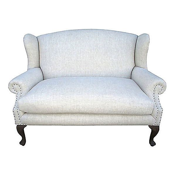 Pre Owned Wingback Settee w  Natural Flax Linen   4 295    liked on   Kitchen SofaHome FurnitureFurniture. Best 25  Second hand sofas ideas that you will like on Pinterest