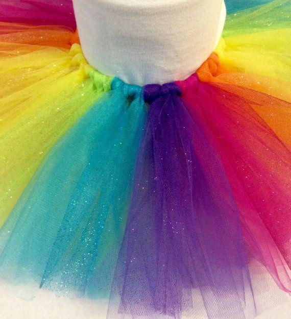 rainbow glitter tutu rainbow tutu colorful by JennabooBoutique
