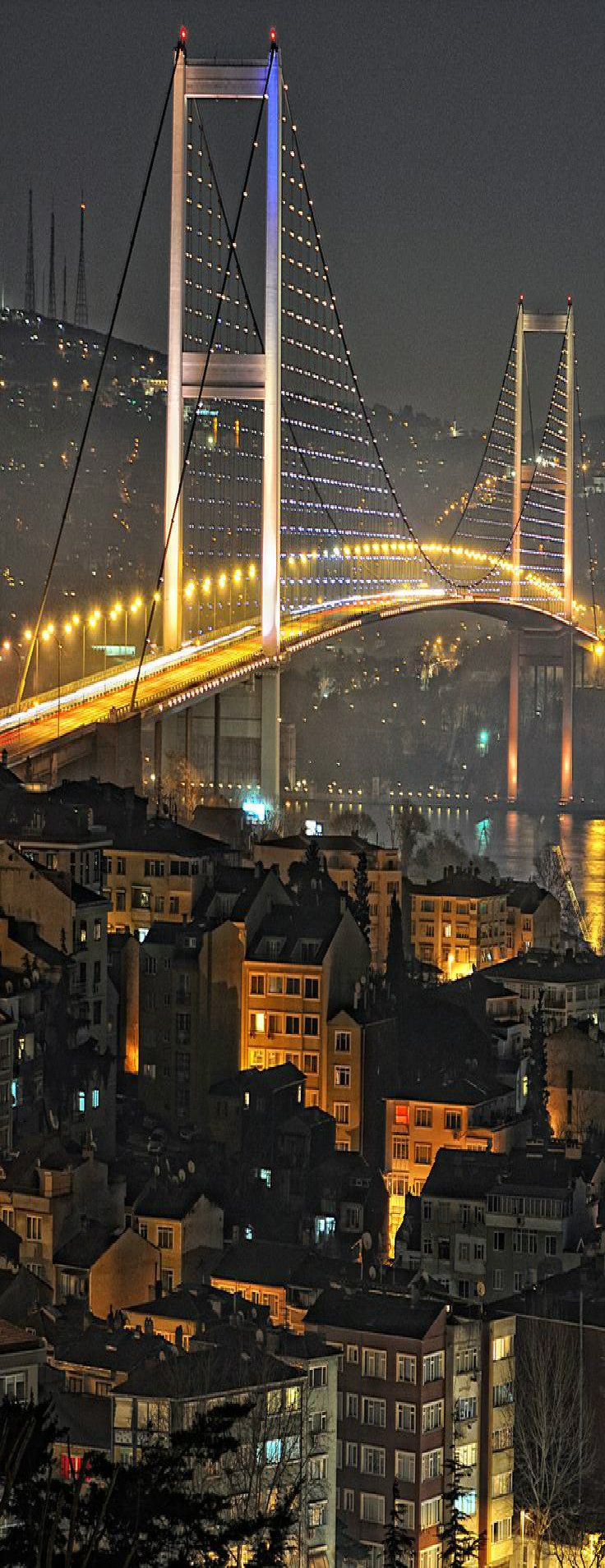 Bosphorus Bridge with Istanbul city lights.