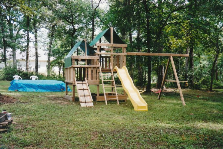 The First Gemini Swing Set with Three Position Swingset and 10' Wave Slide