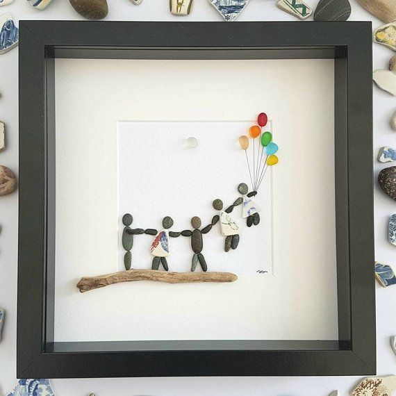 Pebble Art Family With Balloons Unique Birthday Gift For Mom