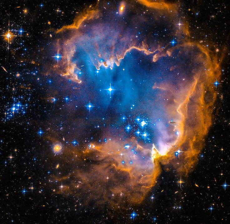 Space Image: New blue stars, orange / brown nebula  This image depicts bright blue newly formed stars that are blowing a cavity in the centre of a fascinating star-forming region known as N90. High quality digital painting with carefully enhanced colors, more vibrant and vivid than in the original Hubble photo. Looks amazing as large art print, poster or canvas, bring the fascination of the universe in your home or office! Credit for the original picture: NASA, ESA and the Hubble Heritage…