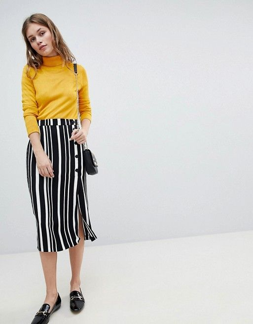 55ac70677 Bershka Midi Skirt In Multi Stripe in 2019 | Currently Coveting ...