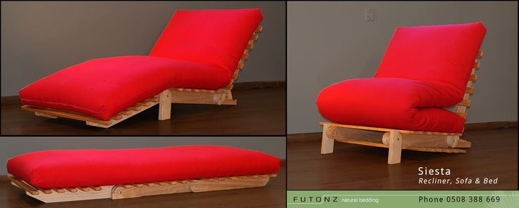 The Siesta, an authentic cotton futon that adapts to three positions: bed, sofa and recliner!