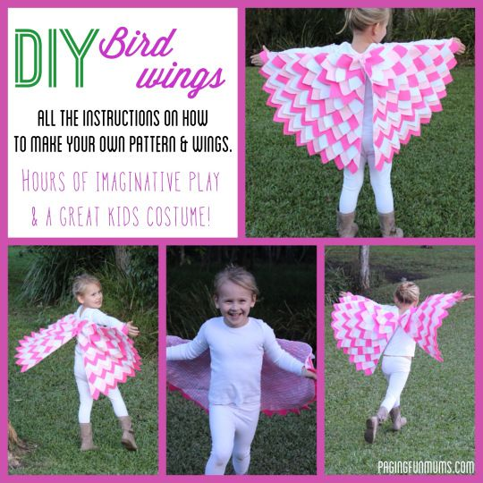 DIY Bird Wing Pattern = Hours of imaginative play! Would make a great Halloween costume too!