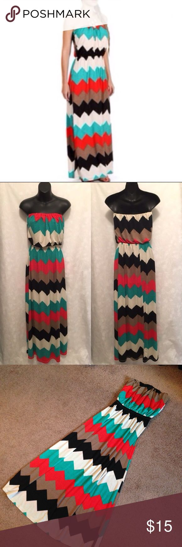 """EUC Chevron Maxi Dress Strapless Maxi dress with elastic neckline and waist in gorgeous orange and turquoise print. Perfect for a night out! Size is M/L, would fit size 6-10. Length is approx 45"""" Mezzanine Dresses Maxi"""