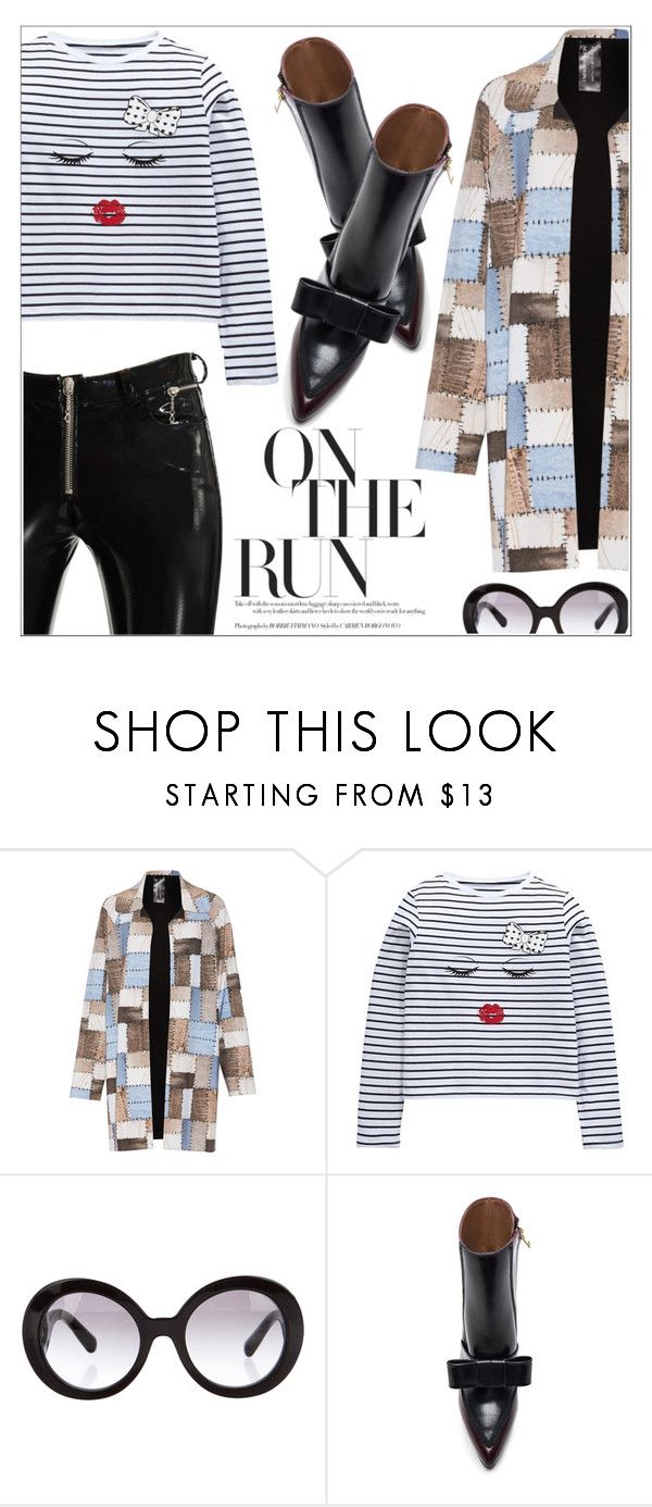 """""""What's Trending: Duster Coats"""" by eclectic-chic ❤ liked on Polyvore featuring Norma Kamali, Prada, Marni, Alyx, NYFW, stripes, kneehighs, leatherpants and DusterCoats"""