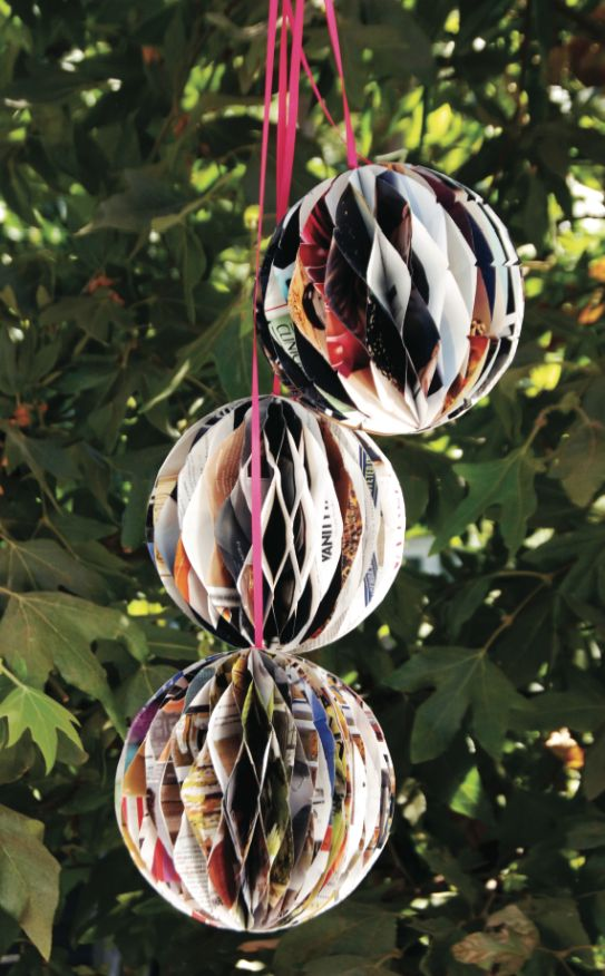 Learn to make these recycled magazine page party decorations!  So easy (and addicting)