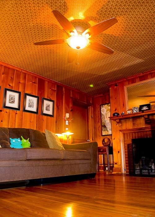 Wood Paneled Den: With 1953 Wallpaper On The Ceiling