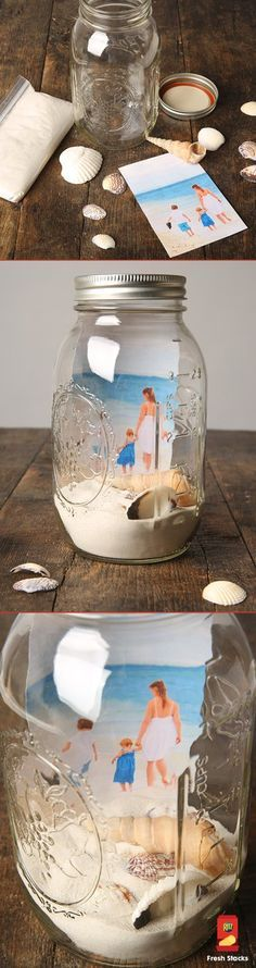 Who needs a picture frame? Mason jars make adorable frames for photos of family and friends. Add dried sand and shells for  decoration, or objects with sentimental value! They make an adorable home accent.