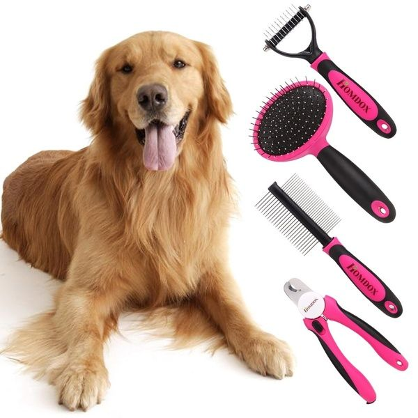 4pcs Dog Grooming Kit Best Combing Nail Trimming And Brush Cleaning From Pet Toes Home Supplies Tool Set For Pet Dogs In 2020 Dog Grooming Supplies Pet Grooming Tools Dog Grooming