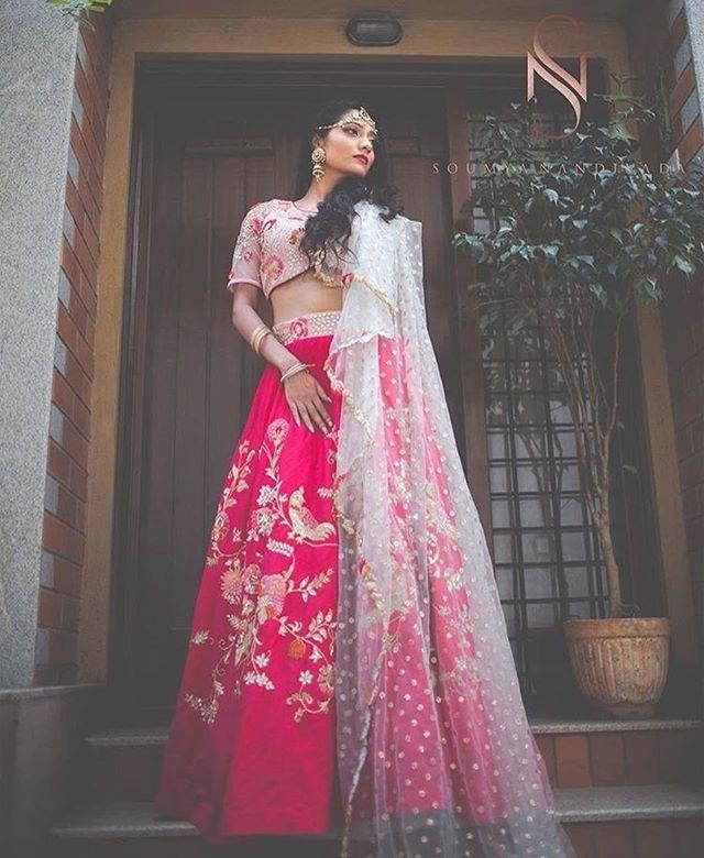 We are loving these fresh ensembles by @soumyanandivadaofficial ! #lehenga #bangalore #pink #bride #bridal #wedding #indianwedding #indianwear #ethnicwear #weddingday #sangeetday #engagementday #bridallehenga