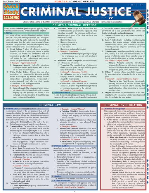 This 6-page guide contains the key information for any Criminal Justice course. This guide contains information on: Crimes & criminal offenses, criminal law, criminal investigation, criminal prosecution and much more. http://www.examville.com/examville/