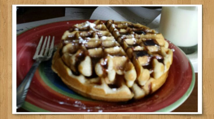 Peanut butter waffles with chocolate syrup...