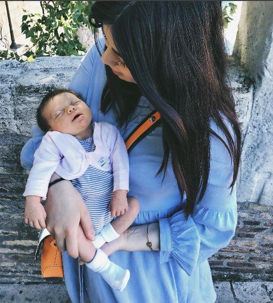 Arianna Calvitti is sweet and stylish with Bamboom's Jumpsuit and cardigan.   #babywear #bamboom #babyclothes #newborn #newborns #babyfashion #babyboy #babygirl #neonati #momtobe
