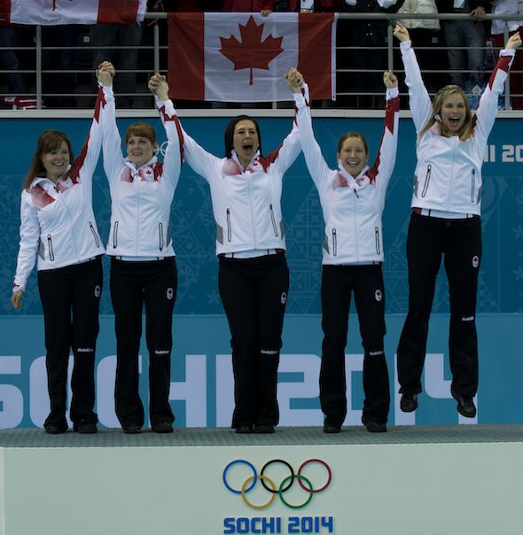 Team Canada, from left, Kirsten Wall, Dawn McEwen, Jill Officer, Kaitlyn Lawes and Jennifer Jones celebrate their gold medal. (Photos, CCA/M...