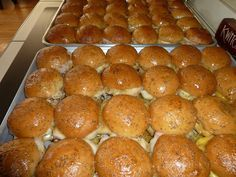 Funeral Sandwiches (for a crowd) - using Sam's rolls, meats, cheeses with a yummy sauce.  Make and store overnight before baking the next morning.  Serves 96