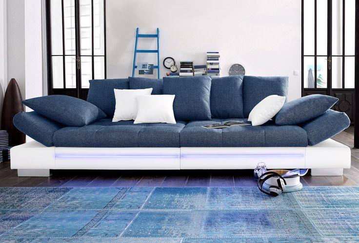 Spectacular Big Sofa wei Mit RGB LED Beleuchtung Energieeffizienzklasse A inklusive loser Zier und R ckenkissen FSC zertifiziert yourhome Jetzt bestel u
