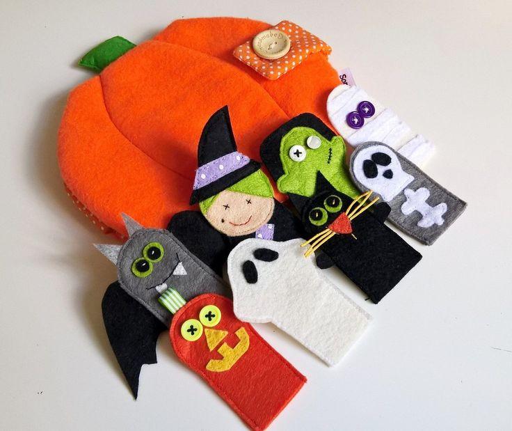 Zucca con marionette da dita in feltro Halloween , by Soniando, 34,00 € su misshobby.com