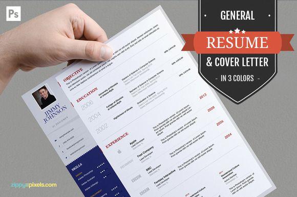 Job Resume CV & Cover Letter PSD Set by ZippyPixels on @creativework247