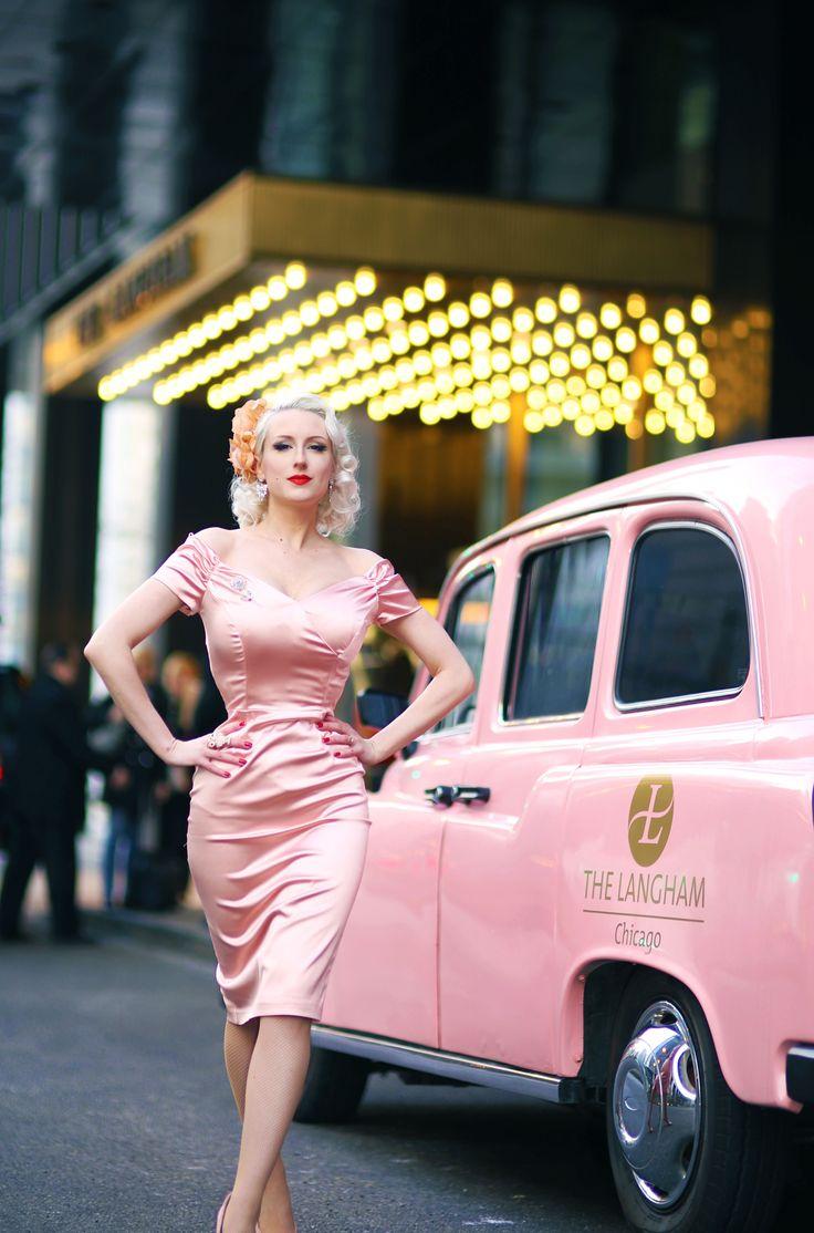 Fatale Dusky Pink Satin Pencil Dress.  #theprettydress #theprettydresscompany