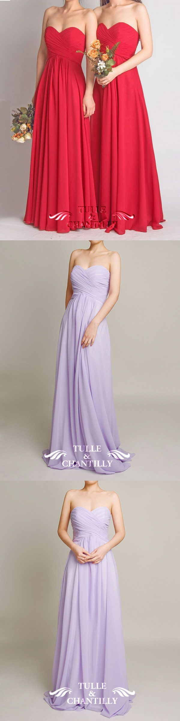 long chiffon bridesmaid dress in red and light purple for wedding 2015