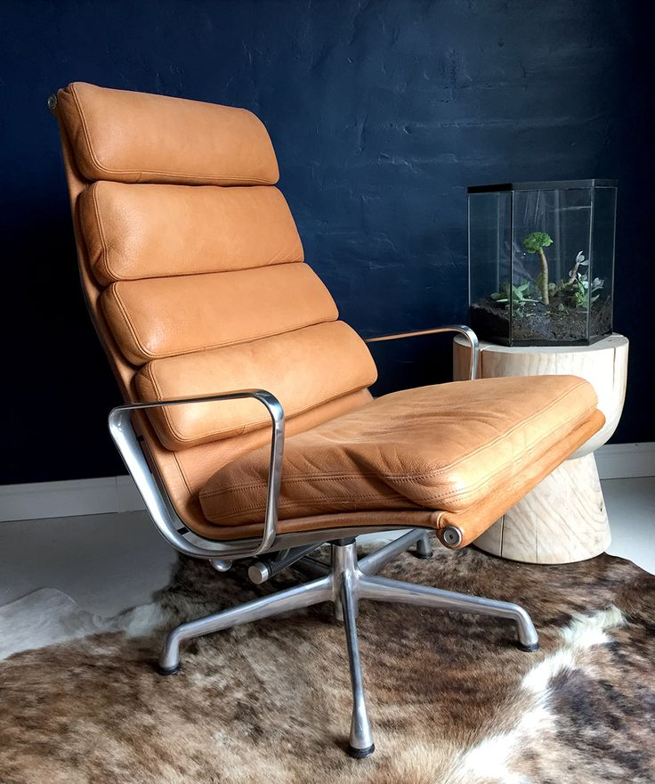 Herman Miller Eames Softpad lounge chair in tan leather
