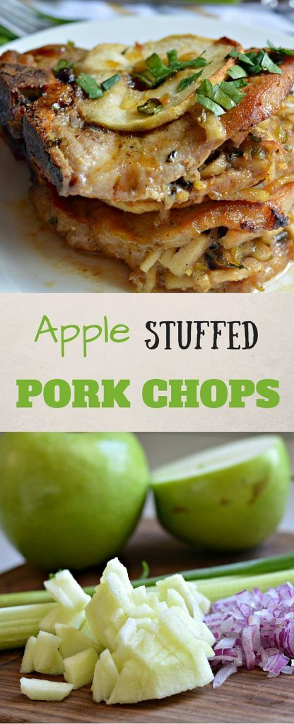 This apple stuffed pork chops recipe is a great option for the weeknight when you need a great meal in not a lot of time. #AllNaturalPork #Ad