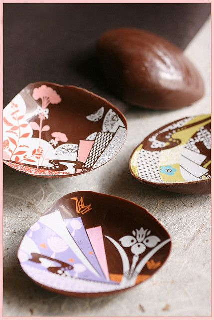 Japanese chocolates (Valentine's chocolate from Kyoto --- Japanese sweets shop Matsukazeya in Isetan department store, Kyoto Japan --- The chocolate which were modeled on shells used for Japanese shell-matching game which is called 'kaiawase'. Kaiawase game played originally by nobles in the Heian period)